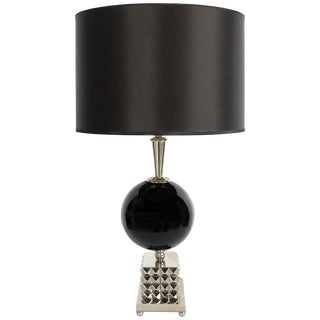 Laudarte Srl Lume Yago Table Lamp in Nickel and Glass, Pair Available For Sale