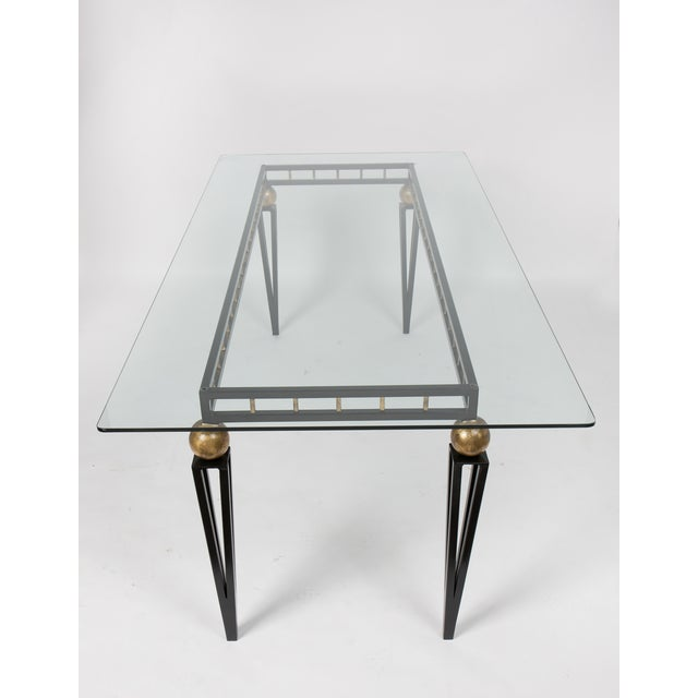 French Art Deco Forged Iron Dining Table - Image 6 of 10