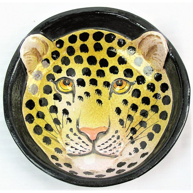 1970s Vintage Leopard Italian Majolica Bowl For Sale - Image 5 of 6