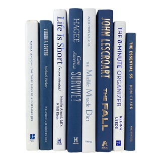 Navy Blue and White Decorative Books - Set of 8 For Sale