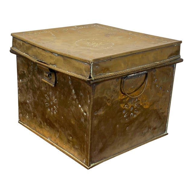 Antique Brass Slipper Warming Box For Sale