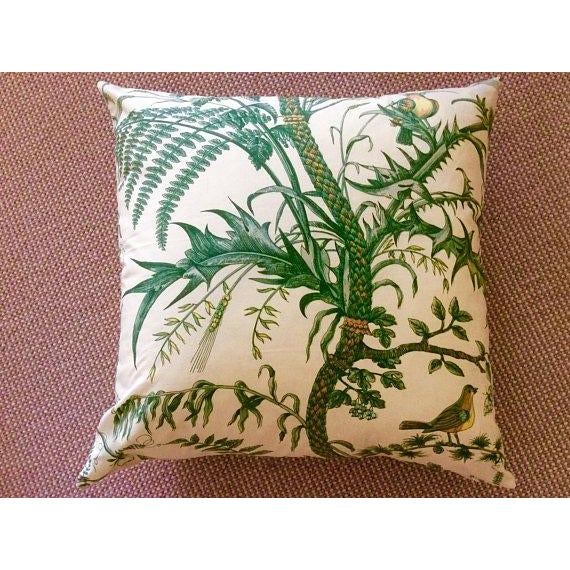 Brunschwig & Fils Bird and Thistle Green Pillow Covers - a Pair - Image 6 of 7