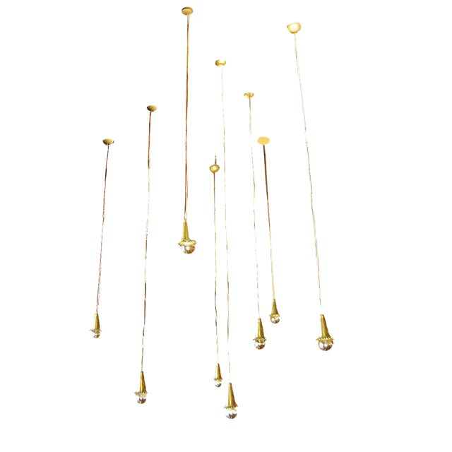 1940s Brass Pendant Lights - Set of 8 For Sale