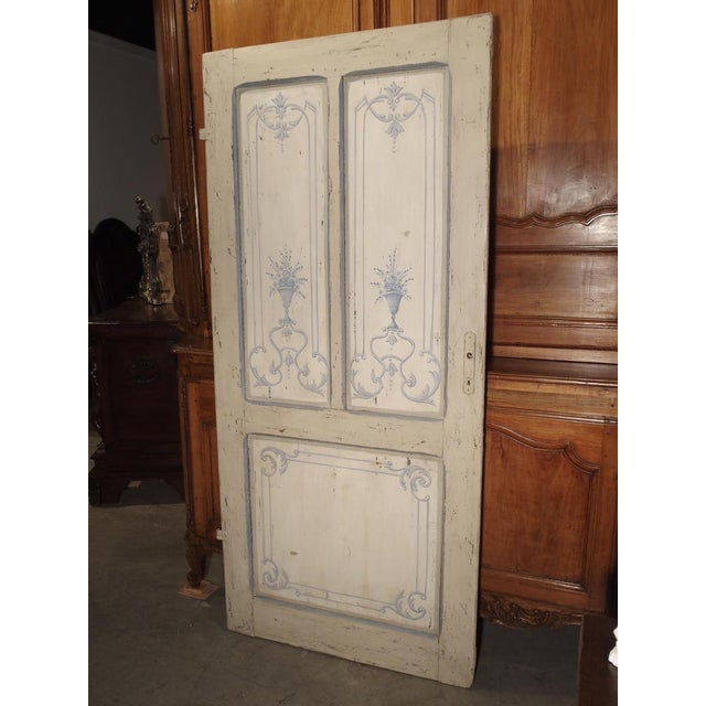 Blue and White Painted Antique Door From Lombardy, Italy Circa 1850 For Sale - Image 12 of 13