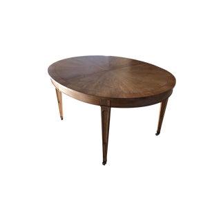 Vintage 1940s Art Nouveau Oak Wood Oval Table For Sale