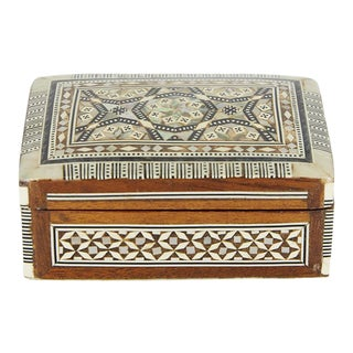 Egyptian Mother-Of-Pearl Inlaid Jewelry Box For Sale