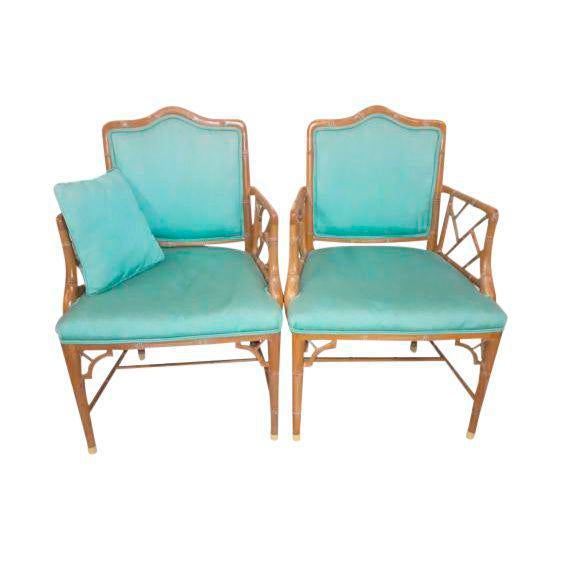 Chinese Chippendale Regency Faux Bamboo Turquoise Chairs - A Pair - Image 6 of 6