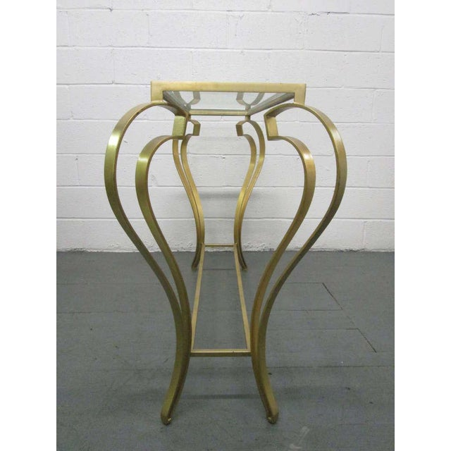 Hollywood Regency Iron Gold Gild Console Table - Image 5 of 6