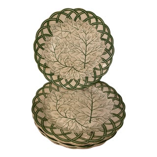 Antique English Creamware Cabbage Plates - Set of 5 For Sale
