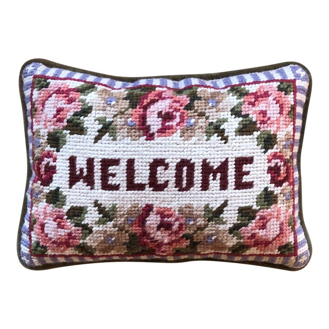 Needlepoint Floral Welcome Pillow For Sale