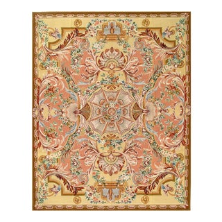 Light Brwon Fine Hand Knotted Abusson Rug 8' X 10 For Sale