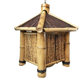 Post-War Bamboo Asian Hut Style Chandelier Hanging Lamp, 2 Available For Sale
