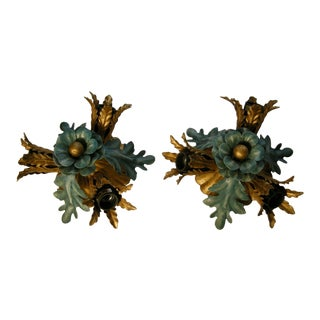 C1960's Italian Mid Century Floral Tole Banci Firenze Bi Color Wall Sconces - a Pair For Sale