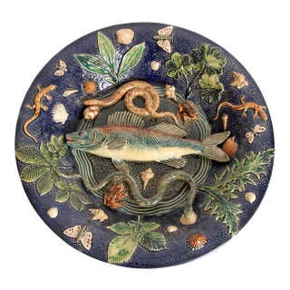 Large Palissy Charger by Victor Barbizet, Circa 1875 For Sale