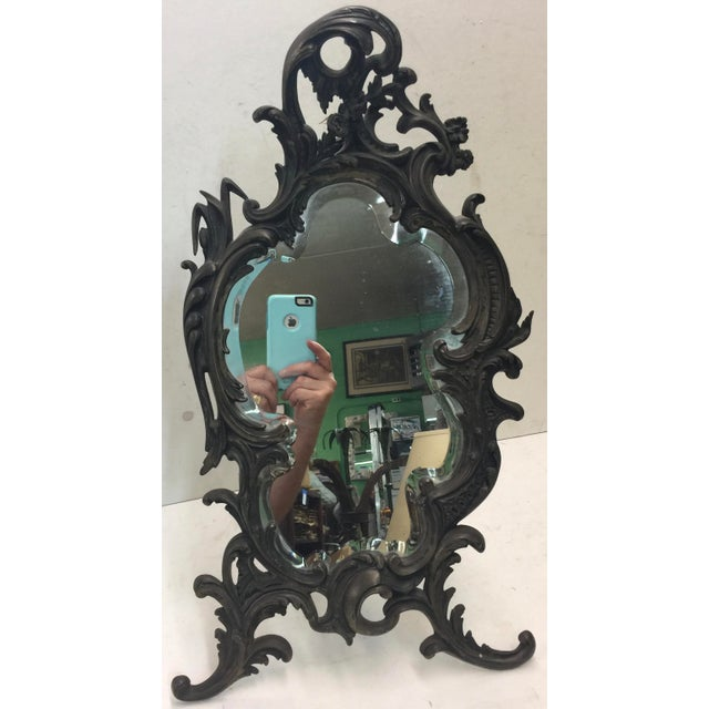 "Black Antique Rococo Table Mirror 22"" For Sale - Image 8 of 8"