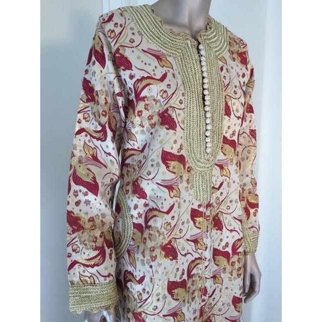 1970s Metallic Brocade Moroccan Caftan, Kaftan Maxi Dress For Sale In Los Angeles - Image 6 of 10