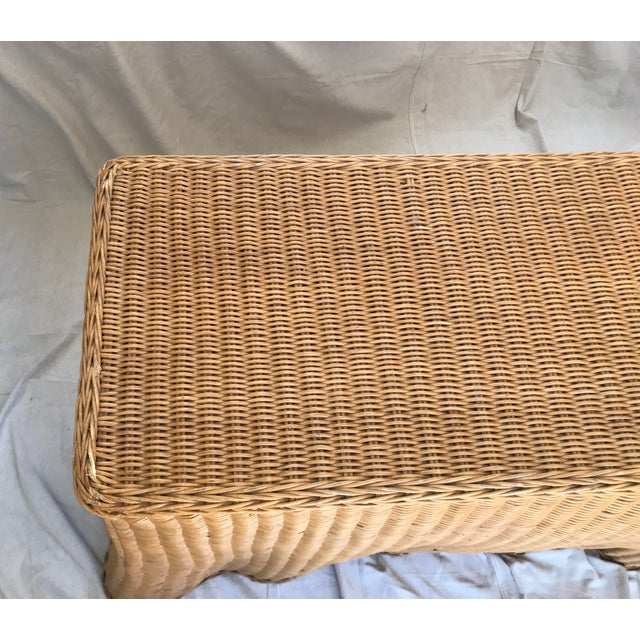 """Trompe l'Oeil """"Drape"""" Wicker Ghost Console Table For Sale In Palm Springs - Image 6 of 11"""