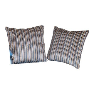 Pair of Custom Cotton Velvet Striped Pillows with Welt Cord For Sale