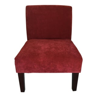 Contemporary Plush Red Chairs - A Pair