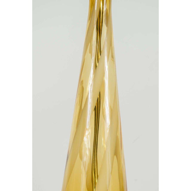 Murano, Venini & Co. Sophisticated Mid-Century Modern Murano Glass Teardrop Amber Table Lamp For Sale - Image 4 of 6