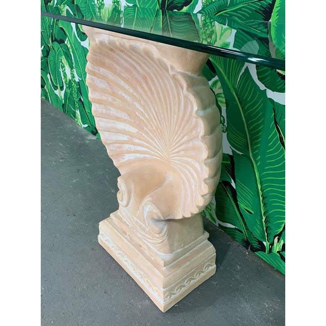 Hollywood Regency Hollywood Regency Shell Form Console Table After Edward Wormley For Sale - Image 3 of 8
