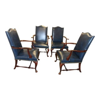 Hickory Chair Leather Chippendale Style Side Chairs - Set of 4