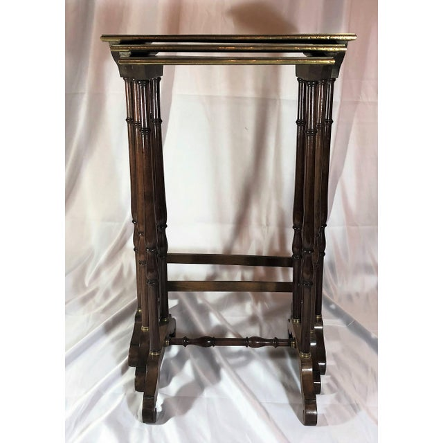 Late 19th Century Antique French Mahogany With Bronze Inlay Nest of Tables , Over 100 Years Old. For Sale - Image 5 of 7