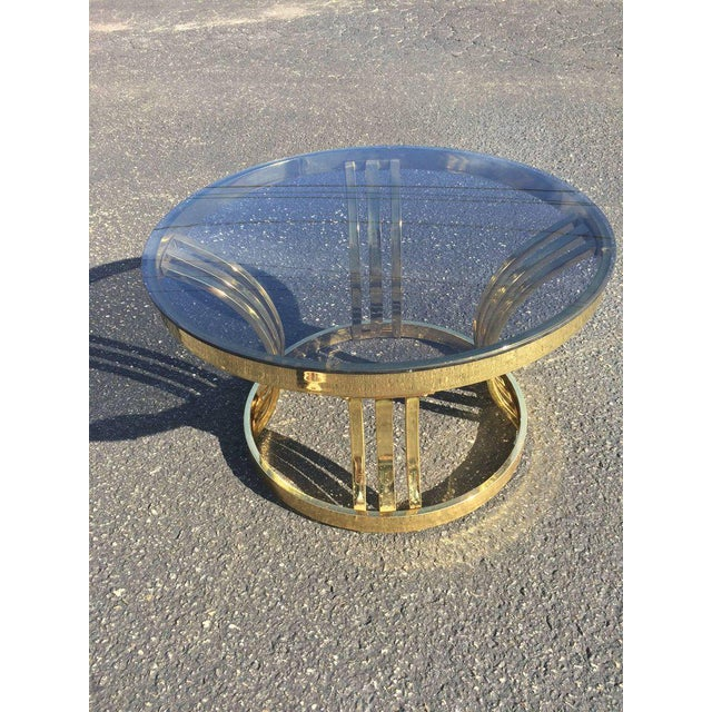 Milo Baughman Brass & Smoked Glass Round Coffee Table For Sale - Image 10 of 10