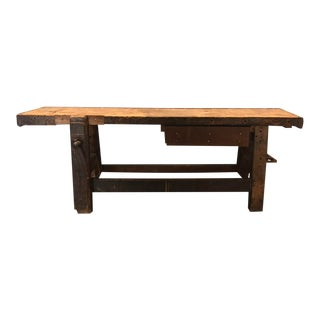 Rare and Massive Industrial Centerpiece Swiss Vintage Carpentry Work Bench Console Table For Sale
