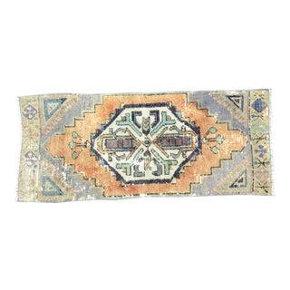 Vintage Distressed Turkish Handmade Orange and Gray Boho Rug For Sale