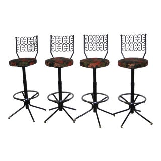 Mid-Century Modern Arthur Umanoff Swivel Bar Stools - Set of 4