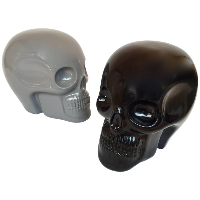 Stool Skull in Grey Ceramic by Antonio Cagianelli, Contemporary For Sale