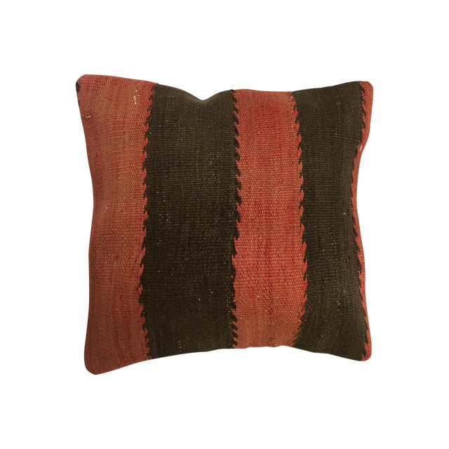 Red and Black Handmade Kilim Pillow Cover - Image 1 of 4