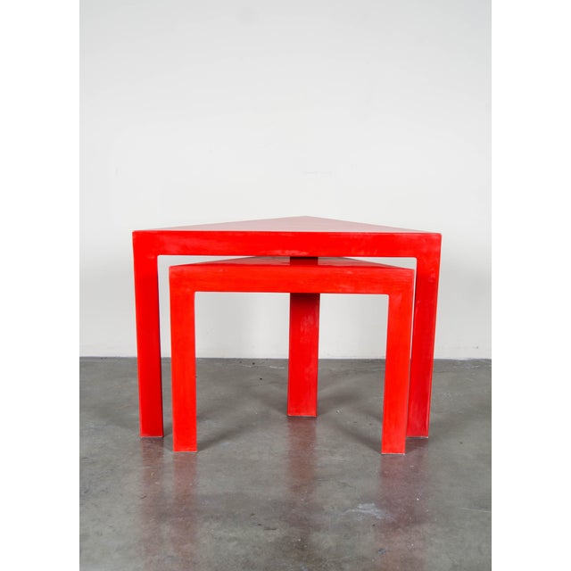 Contemporary Red Lacquer Corner Nesting Tables - A Pair For Sale - Image 3 of 5