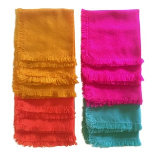 Vintage Bright Multicolored Woven Cotton Blend Fringed Edge Square Table Napkins - Set of 11 For Sale