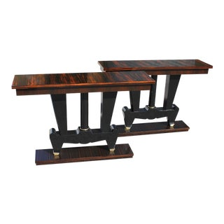Spectacular Pair of French Art Deco Macassar Ebony Console Tables, Circa 1940s.