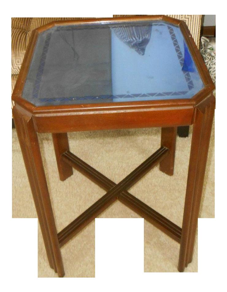 Art Deco Cobalt Blue Glass End Table   Image 1 Of 5