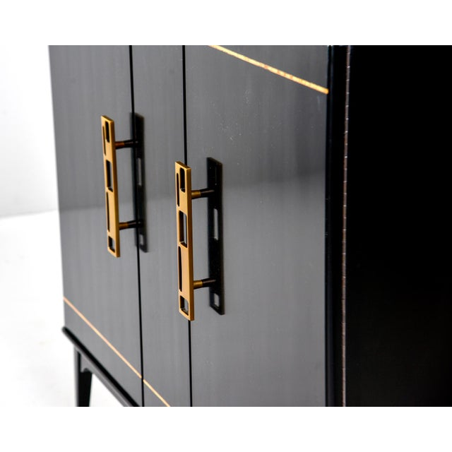 Metal Mid Century Swedish Ebonized Two-Door Cabinet With New Brass Hardware For Sale - Image 7 of 11