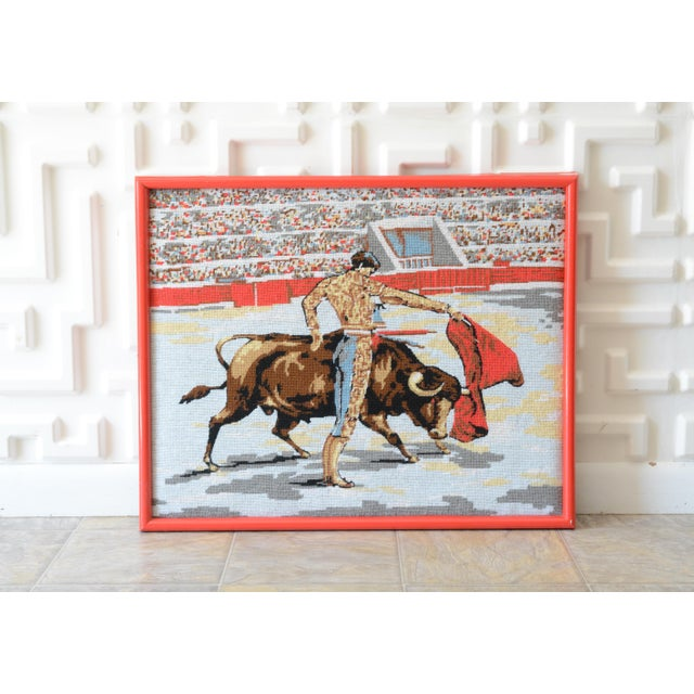 Red Mid Century Matador Needlepoint Art For Sale - Image 8 of 8