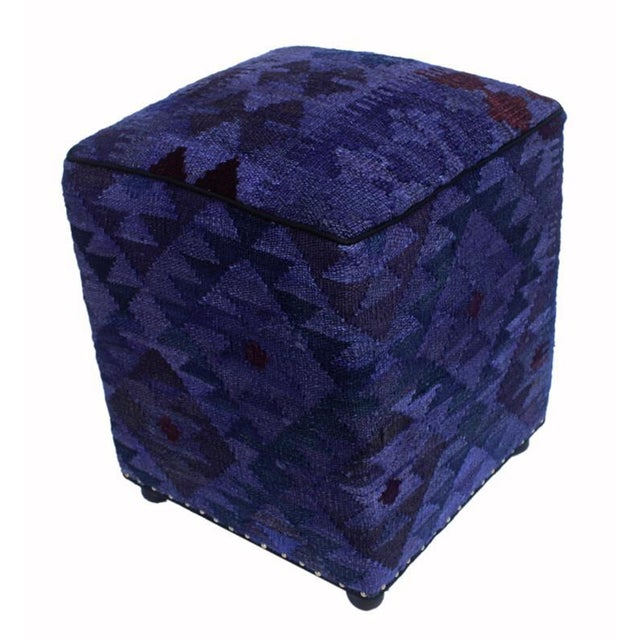 Purple Arshs Delta Purple/Drk. Gray Kilim Upholstered Handmade Ottoman For Sale - Image 8 of 8