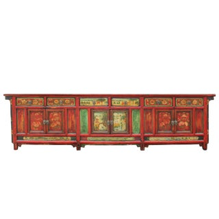 Chinese Distressed Red Flower Graphic Tv Console Credenza Cabinet For Sale