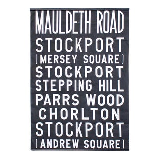Uk Bus Route Sign on Linen | 1960's British Transit Scroll | Industrial Graphic Print For Sale