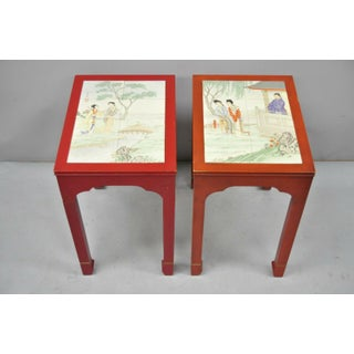 Vintage Oriental Ming Style Red Wooden Side End Tables With Tile Tops - A Pair Preview