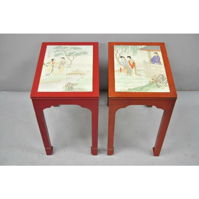 Pair of Vintage Oriental Ming Style Red Side End Tables with Tile Tops. Item features ceramic tile tops, beautiful...