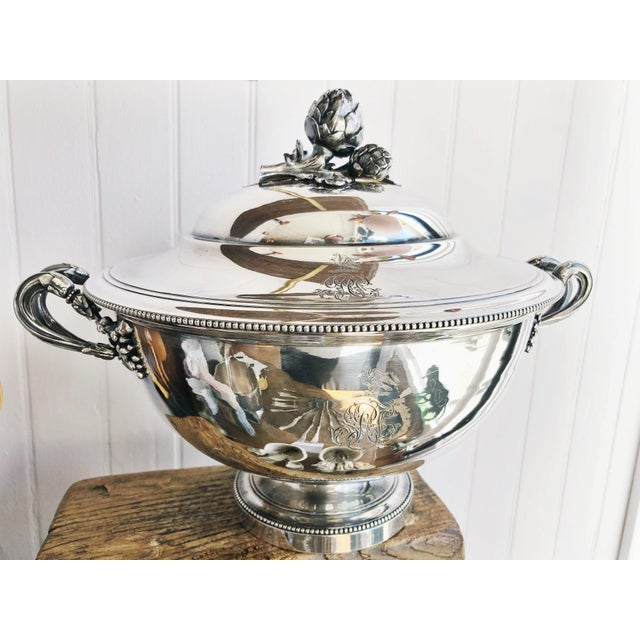 Antique Christofle Silver Tureen With Armorial Engraving For Sale - Image 13 of 13