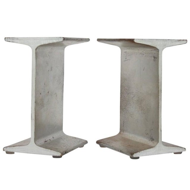 Mid-Century Modern Mid-Century I-Beam Metal Bookends - A Pair For Sale - Image 3 of 3