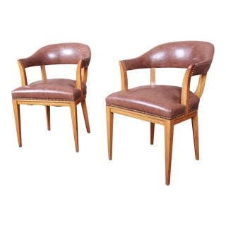 Edward Wormley for Dunbar Janus Collection Leather and Mahogany Armchairs, Pair For Sale
