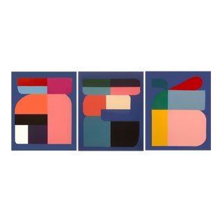 Brooks Burns Original Abstract Triptych Paintings - Set of 3 For Sale