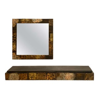Paul Evans for Directional, Patchwork Mirror and Console For Sale