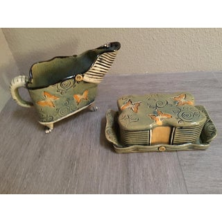 Butterfly Olive Green, Black and Orange Butter Dish and Pitcher - 2 Piece Preview